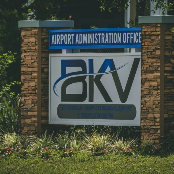 BKV Airport exterior airport administration office sign